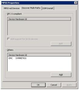 MPIO Dialog box - Discover Multi-Paths Tab