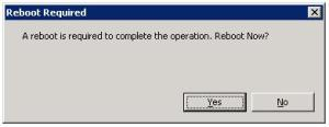 Reboot Required - Confirmation Dialog Box